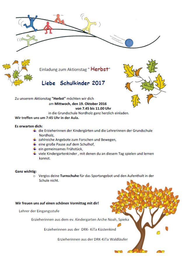 Einladung Zum Herbst Aktionstag Grundschule Nordholz